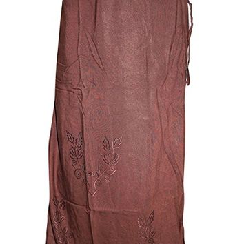 Mogul Women's Vintage Wrap Around Skirt Rust Sexy Embroidered Straight Skirts