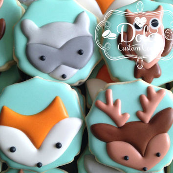 Woodland Animal Fox Owl Raccoon Deer Baby Shower First Birthday Birthday Cookies