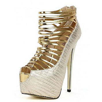 Bumper Elle-32C Gold Strappy Peep Toe Platform Pump High Heel Shoes