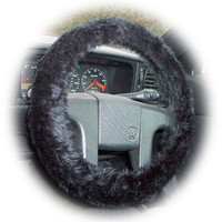 Black faux fur furry fluffy fuzzy car Steering wheel cover