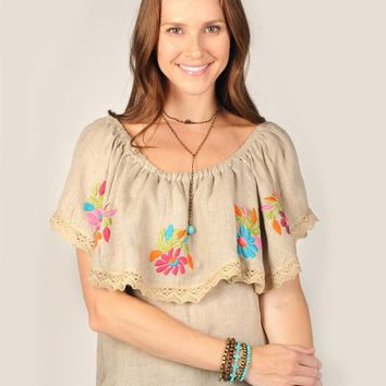 Ivy Jane Linen Embroidered Top