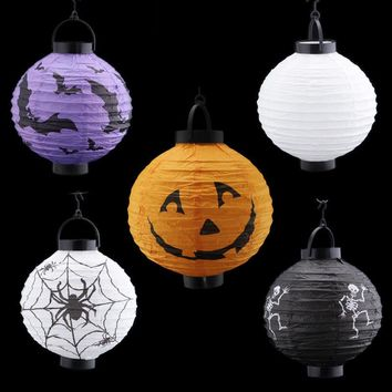 Halloween Decorations And Props Pumpkin Hanging Paper Lantern Terror Witch Lantern Hand Skull Lamp Props Outdoor Party HG0156