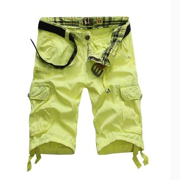 Men's Multi-pocket Cargo Shorts New Summer Beach Shorts Cotton Loose Work Short Pants Casual Shorts Knee Length Overalls NoBelt