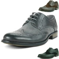 Alpine Swiss Zurich Men's Wing Tip Dress Shoes Two Tone Brogue Lace Up Oxfords