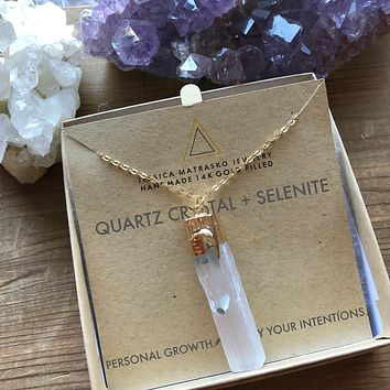 Quartz Crystal + Selenite Healing Crystal Necklace