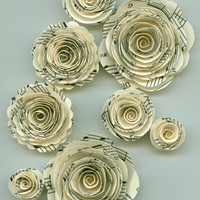 Music Note Rose Spiral Paper Flowers for Weddings, Bouquets, Events and Crafts