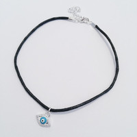 the mystic evil eye choker - FREE shipping! blue and silver turkish evil eye