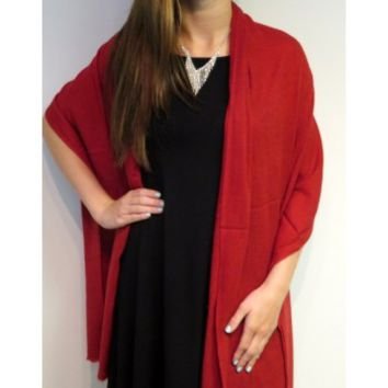 Dark Red Nepal Shawl Cashmere Beauty - Solid Cashmere Wool Shawls - Winter Shawls Ruana Wraps