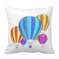 Colorful Hot Air Balloons Throw Pillow