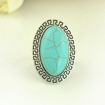 Jewelry Gift Shiny Stylish New Arrival Vintage Turquoise Silver Bohemia Ring [8026215175]
