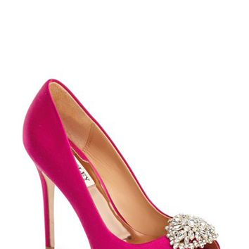 "Women's Badgley Mischka 'Jeannie' Crystal Trim Open Toe Pump, 4 1/4"" heel"