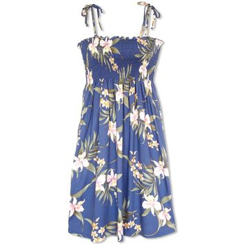 Bamboo Orchid Blue Moonkiss Hawaiian Dress