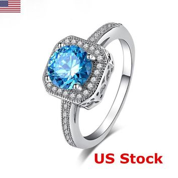 925 Sterling Silver Cushion Cut Blue Diamonds Gemstone Vintage Engagement Ring