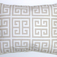 Pillow.Taupe.12x16  inch Decorator Lumbar Pillow Cover.Printed Fabric Front and Back.Taupe and White