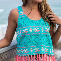 Better Days Turquoise Crop Top