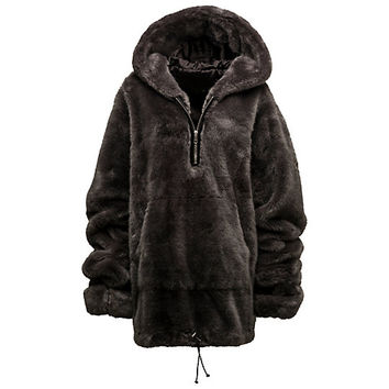 HALF-ZIP PULLOVER FAUX FUR HOODIE, buy it @ www.puma.com