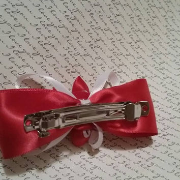 Kanzashi Flower Hair Bow  Barrette in Red and White. Cheerleader Cheerleading Hair Accessories Hair Accessory Gifts for Her