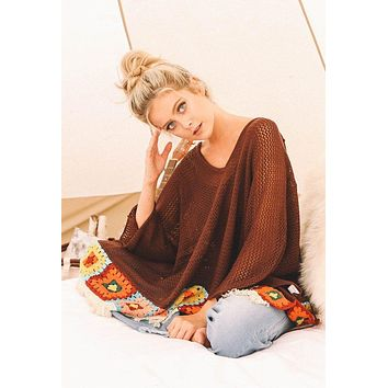 Judith March Brown Knit Poncho with Granny Square Detail