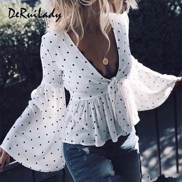 DERUILADY Polka Dot Vintage Blouse Shirt V Neck Flare Sleeve Sexy Women Blouses Ruffle Bow Summer Ladies Tops Casual Shirts