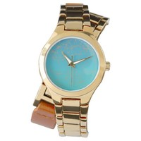 Turqouise Face with Gold Abstract lines Wristwatch