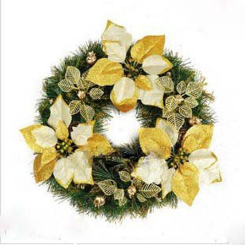 Free shipping Christmas decoration supplies 40cm Golden Decoration Christmas Wreath pinecone