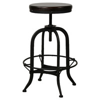 Adjustable Industrial Barstool, Black, Bar & Counter Stools