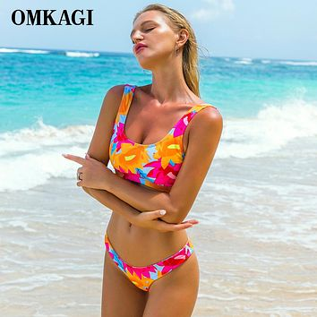 OMKAGI Brand Brazilian Bikini 2018 Swimsuit Swimwear Women Sexy Push Up Swimming Bathing Suit Beachwear Sport Bikinis Set Summer