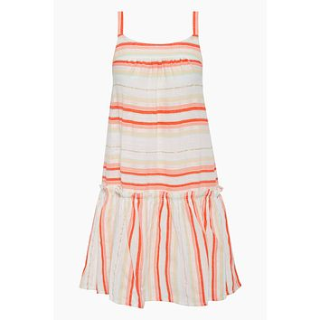 Fiesta Beach Dress - Orange Stripe Print