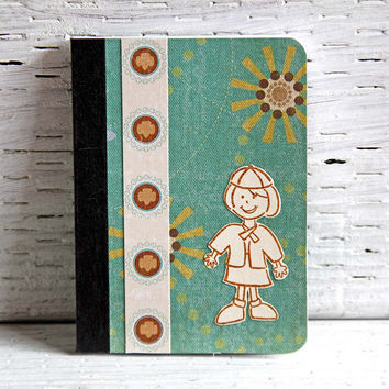 Brownie Girl Scout Mini Journal, Altered Composition Book, Pocket Notebook, Stories of Troop Adventures, Girl in Brownie Girl Scout Uniform