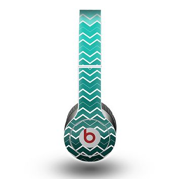 The Teal Gradient Layered Chevron Skin for the Beats by Dre Original Solo-Solo HD Headphones