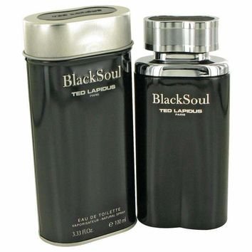 BLACK SOUL by Ted Lapidus EDT SPRAY 3.4 OZ & AFTERSHAVE BALM 3.4 OZ & ALL OVER SHAMPOO 3.4 OZ
