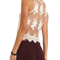 Embroidered Mesh Pocket Tank Top by Charlotte Russe