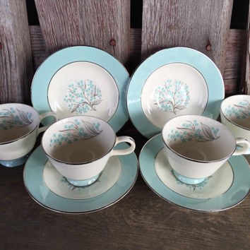 Midcentury china pattern 1950's china, Sevron Blue Lace china tea cups and saucers, Vintage dinnerware, Homer Laughlin Blue Lace dinnerware