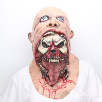 Scary Bloody Zombie Latex Mask gost horror mask terror haunted house skull mask Demon Party Props Costume cosplay dress realista