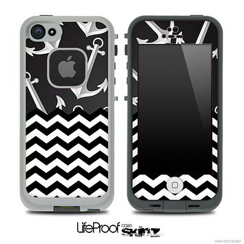 Mixed Anchor Bundle and Chevron Pattern Skin for the iPhone 5 or 4/4s LifeProof Case