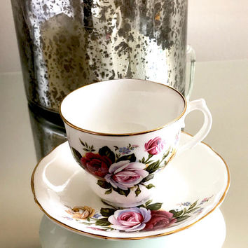 Arklow Tea Cup, Multicolored Roses, Irish Bone China, Gold Trim, Pink Red & Yellow, Tea Cup And Saucer, Shabby Chic, Collectible, Vintage