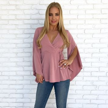Kiss From A Rose Top in Mauve