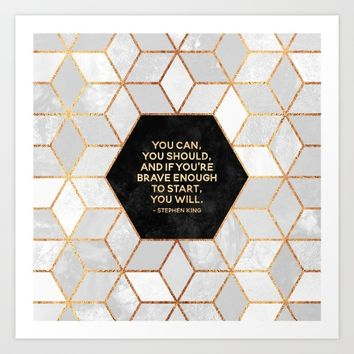 If you're brave enough / Design Milk Collab. Art Print by Elisabeth Fredriksson