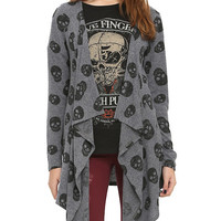 Grey & Black Skull Hacci Open Cardigan