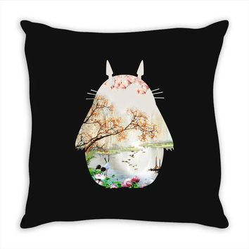 Totoro With Japanese Landscape Throw Pillow