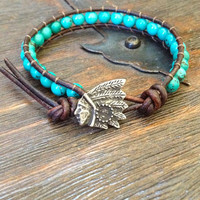 Rustic Indian & Turquoise Knotted Leather Wrap Bracelet
