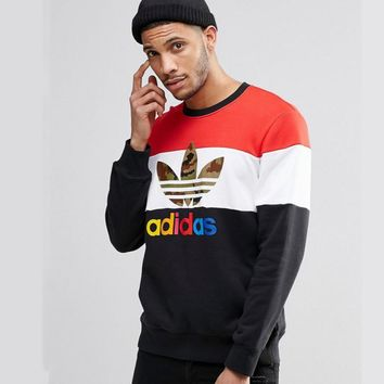 Adidas Fashion Casual Letter And Logo Print Splicing Long Sleeve Pullover Sweater