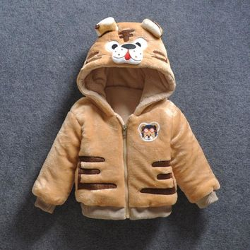 Baby Girl Boy Cartoon Tiger Down Hooded Jackets Cute Warm Winter Outerwear Newborns Coats Toddler Clothing Infant Bebes Clothes