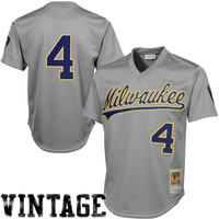 Majestic Paul Molitor Milwaukee Brewers 1987 Authentic Cooperstown Collection Batting Practice Jersey - Gray