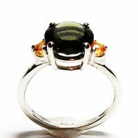 """Moldavite, moldavite accent ring, extraterrestrial, 3 stone ring, green outer space,  s 6 3/4  """"Blast off"""""""