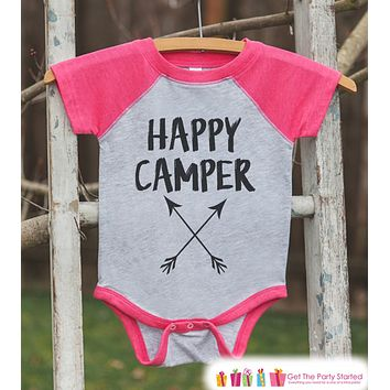 Girl's Happy Camper Arrows Outfit - Pink Raglan Shirt, Onepiece - Kids Baseball Tee - Camp Shirt Baby, Toddler, Youth - Adventure Clothing