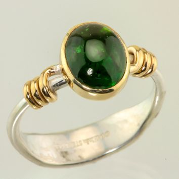 Tourmaline cabochon 14kt & sterling ring