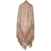 """Manila"" Shawl in Ivory Silk, All Hand Embroidered"