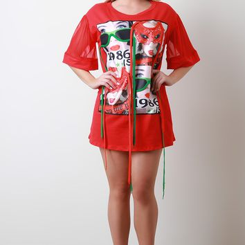 1986 Graphic Print Mesh Sleeve T-Shirt Dress