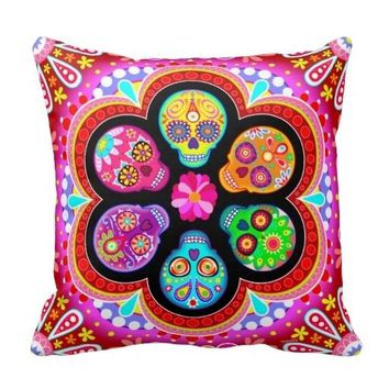 "Pillow Cases Sugar Skulls Pillow Case Day Of The Dead Art (Size: 20"" by 20"") Free Shipping"